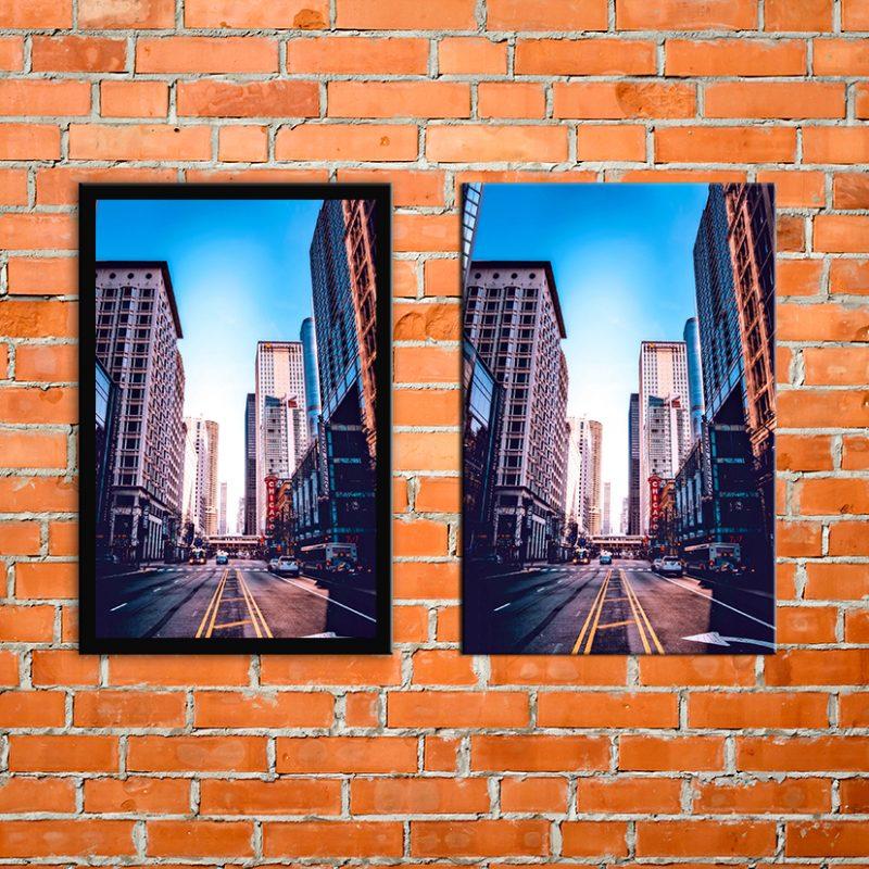 תמונת קנבס ותמונה ממסוגרת על קיר
