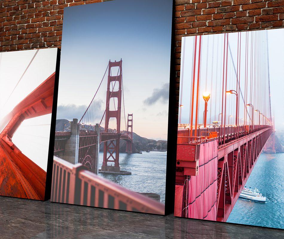 תמונות קנבס בגדלים שונים והדפסות שונות.