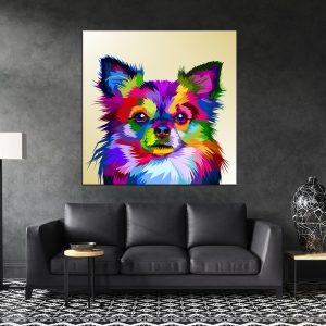 תמונת קנבס של כלב צ'יוואווה פופ ארט תלויה על קיר בסלון להמחשה