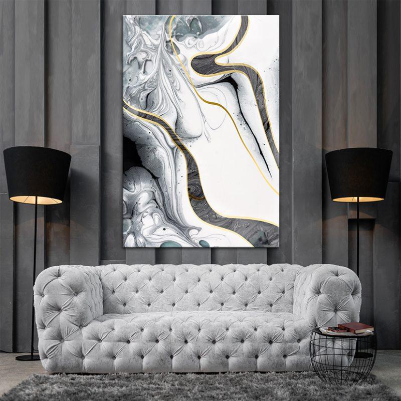 תמונה ממאמר תמונת קנבס לסלון אבסטרקט תמנוני לבן מעל סלון אפור