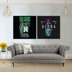 """זוג תמונת קנבס כרזות חופשה """"הארד קור"""" לסלון לעיצוב הבית סגנון כרזה"""