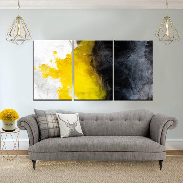 תמונת קנבס אבסטרקט צבעי מים שחור צהוב לבן לסלון לעיצוב הבית