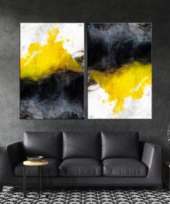 זוג תמונות קנבס - אבסטרקט צבעי מים שחור צהוב לבןלסלון לעיצוב הבית, לחדרי שינה או למטבח