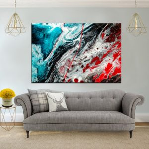 תמונת קנבס - אבסטרקט תכלת אדום לסלון לעיצוב הבית