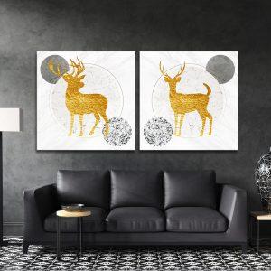 זוג תמונות קנבס - איילים שיש קלאסי לסלון לעיצוב הבית