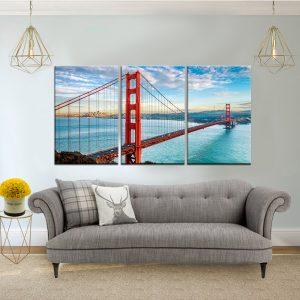 שלישיית קנבס -גשר הזהב ביום בהיר לסלון לעיצוב הבית