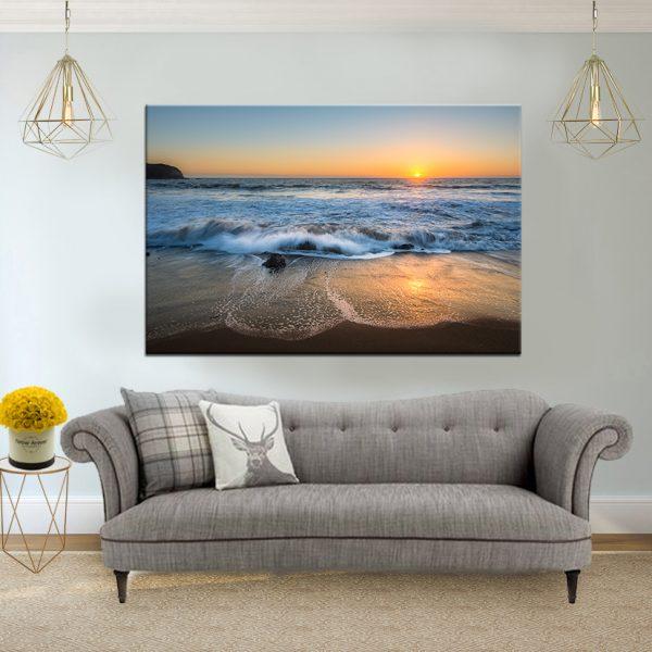 תמונת קנבס הגלים במהלך השקיעה לסלון לעיצוב הבית