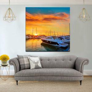 תמונת קנבס - השקיעה במרינה של ספרד לסלון לעיצוב הבית