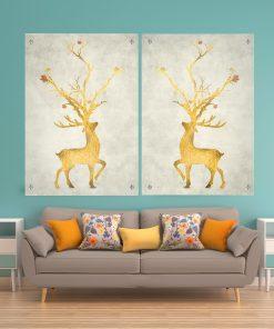 זוג תמונות זכוכית - עץ האיילה לעיצוב הבית על קיר בסלון