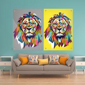 זוג תמונות זכוכית - אריה צבעוני צהוב אפור לעיצוב הבית על קיר בסלון