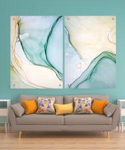 זוג תמונות זכוכית - אבסטרקט מים פאסטליים לעיצוב הבית על קיר בסלון