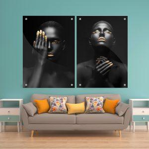 זוג תמונות זכוכית - נשות אפריקה לעיצוב הבית על קיר בסלון