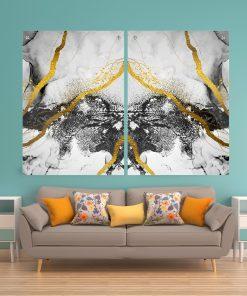 זוג תמונות זכוכית - אבסטרקט שיש לבן שחור זהב לעיצוב הבית על קיר בסלון