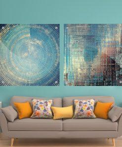 זוג תמונות זכוכית - אבסטרקט כחול לעיצוב הבית על קיר בסלון
