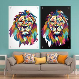 זוג תמונות זכוכית - אריה צבעוני שחור לבן לעיצוב הבית על קיר בסלון