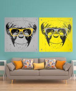 זוג תמונות זכוכית - איילים שיש קלאסי לעיצוב הבית על קיר בסלון