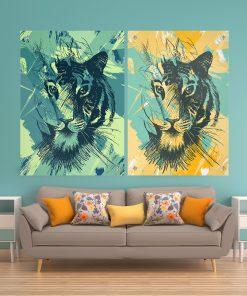 זוג תמונות זכוכית - אבסטרקט טיגר לעיצוב הבית על קיר בסלון