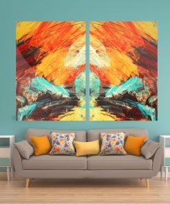 זוג תמונות זכוכית – אבסטרקט לבה צהוב כתום טורקיז לעיצוב הבית על קיר בסלון