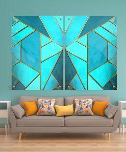 זוג תמונות זכוכית – אבסטרקט שיש מחולק צורות תכלת לעיצוב הבית על קיר בסלון
