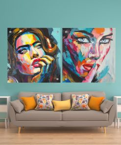 זוג תמונות זכוכית - נשים צבעוניות לעיצוב הבית על קיר בסלון
