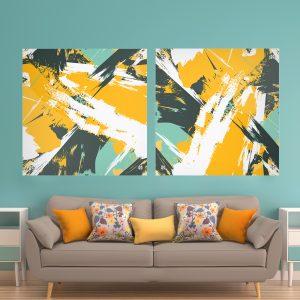 זוג תמונות קנבס - אבסטרקט עונת התפוזים לעיצוב הבית על קיר בסלון