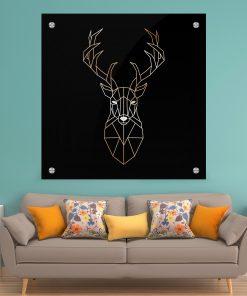 תמונת זכוכית - אייל גאומטרי מטאלי עיצוב הבית על קיר בסלון