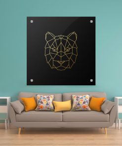 תמונת זכוכית - טיגר גאומטרי לעיצוב הבית על קיר בסלון