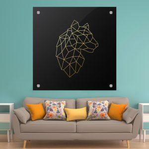 תמונת זכוכית - נמר גאומטרי לעיצוב הבית על קיר בסלון