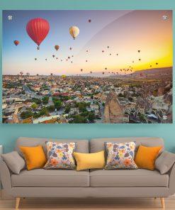 תמונת זכוכית - כדורים פורחים בקפדוקיה לעיצוב הבית על קיר בסלון