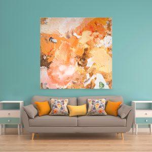 תמונת זכוכית - אבסטרקט צבעי אדמה לעיצוב הבית על קיר בסלון