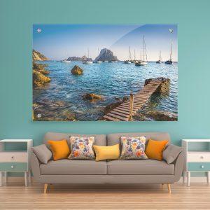 תמונת זכוכית - המזח באיביזה לעיצוב הבית על קיר בסלון