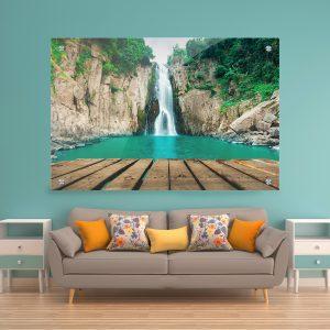 תמונת זכוכית - מזח העץ בגן העדן לעיצוב הבית על קיר בסלון
