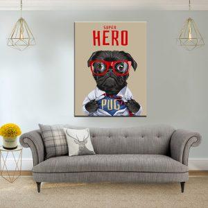 תמונת קנבס כלב גיבור על לסלון לעיצוב הבית