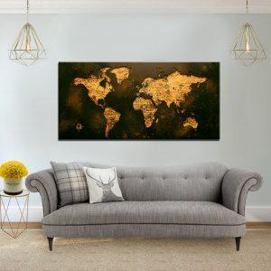 תמונת קנבס מפת עולם וינטג לסלון לעיצוב הבית