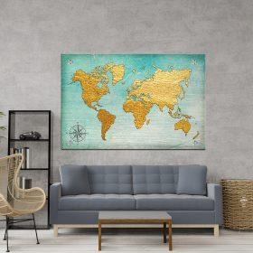 תמונת אומנות - מפת עולם רטרו לסלון לעיצוב הבית