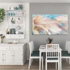 תמונת קנבס נוצות צבעי הפנינה לסלון לעיצוב הבית