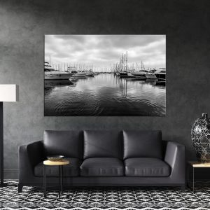 תמונת קנבס נמל היאכטות שחור לבן סלון שחור לסלון לעיצוב הבית