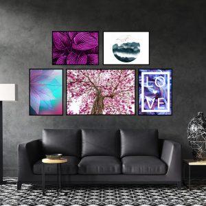 סט תמונות - העלים הסגולים מעוצב לסלון ולמטבח לעיצוב הבית
