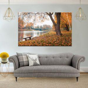 תמונת קנבס - ספסל ביער בלגרוד לסלון לעיצוב הבית