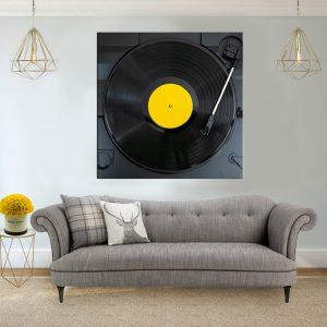 תמונת קנבס - פטיפון והתקליטור הצהוב לסלון לעיצוב הבית