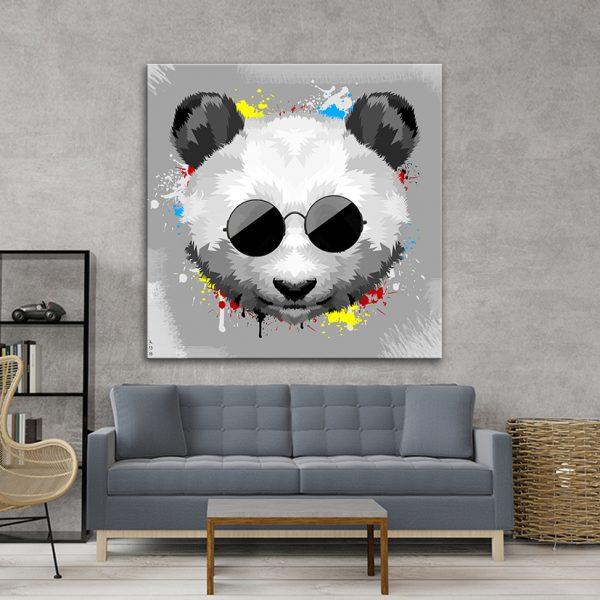 תמונת אומנות - פנדה סטייל אפור לסלון לעיצוב הבית