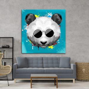 תמונת אומנות - פנדה סטייל תכלת לסלון לעיצוב הבית