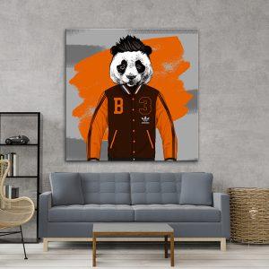 תמונת אומנות - פנדה ספורטיבית לסלון לעיצוב הבית