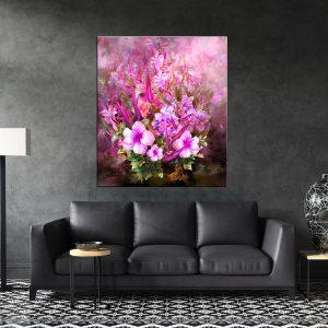 תמונת קנבס פרחים אומנותיים ורודים לסלון לעיצוב הבית