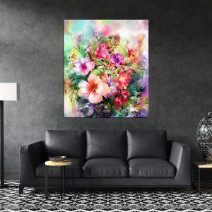 תמונת קנבס פרחים אומנותיים לסלון לעיצוב הבית