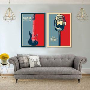 זוג תמונות - רוקנרול קנבס לסלון לעיצוב הבית, לחדרי שינה או למטבח