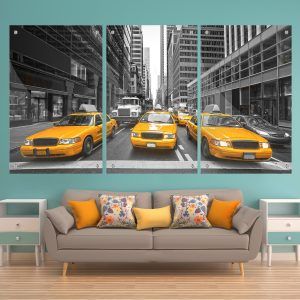 שלישיית תמונות זכוכית - מוניות ניו יורק לעיצוב הבית על קיר בסלון