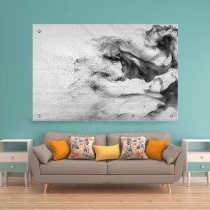 תמונת זכוכית אבסטרקט אקרילי שחור לבן לעיצוב הבית על קיר בסלון