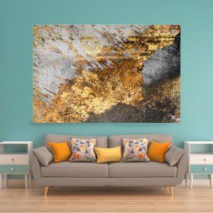 תמונת זכוכית אבסטרקט בטוני לעיצוב הבית על קיר בסלון