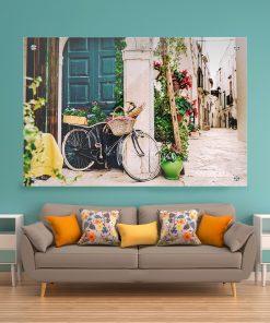 תמונת זכוכית - אופניים איטלקיים לעיצוב הבית על קיר בסלון